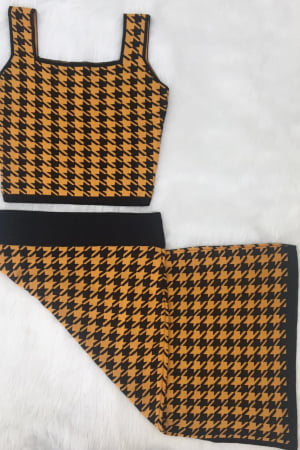 Ref 480 - Conjunto Modal Pied Poulle Saia Cropped