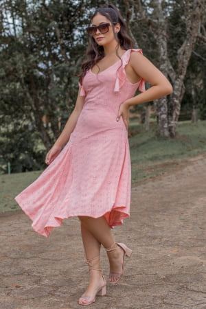 Ref 442 - Vestido Malha Laise Midi Babado Alça