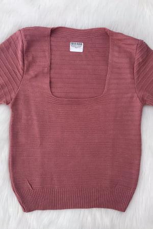 Ref 7012 - Blusa Modal Decote Quadrado Nervuras